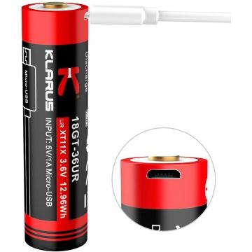 Klarus 18650 Li-Ion 3600mAh USB 10A Dobíjecí, chráněné baterie