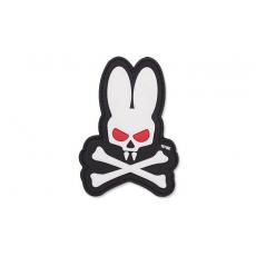 Nášivka na suchý zip 101 Inc. Skull Bunny White / 90x65mm