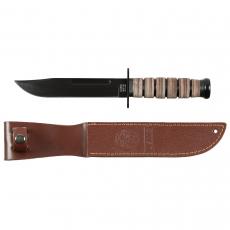 Nůž USMC s koženou rukojetí a pouzdrem MFH